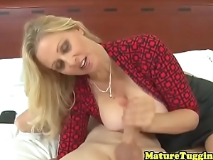 CFNM grown up wanking oiled cock