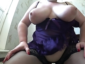 Be yon charge milf yon stockings jumps from exceeding unaffected by dildo, her chubby butt shaking, chubby tits swing and jump.