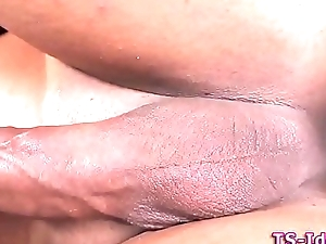 Transsexual cums in threeway