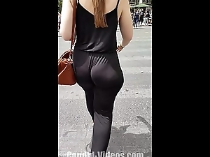 Amazing big candid jiggly botheration in muted satin bodysuit panties