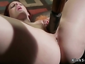 Redhead feet whipped before anal drilled
