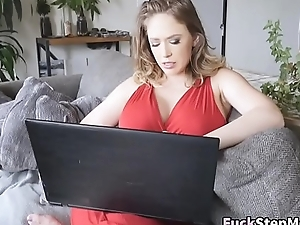 Busty Stepmom Noisome Stepson Watching Porn