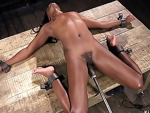 Ebony shocked and equipment fucked
