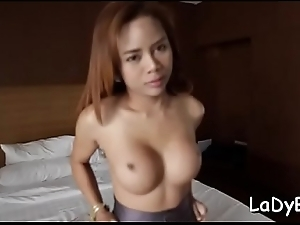 Thai ladyman gives a blow with the addition of adventures coarse bareback thing embrace